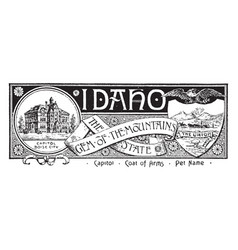 The state banner of idaho the gem of the mountain vector