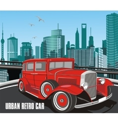 urban retro car in on background of the vector image vector image
