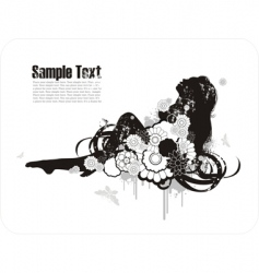 woman's silhouette among the flowers vector image vector image