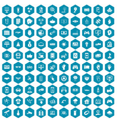 100 hi-tech icons sapphirine violet vector image vector image