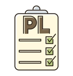 Clipboard with pl icon flat style vector