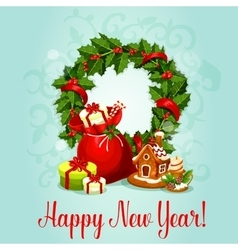 New year design with holly wreath and gift vector