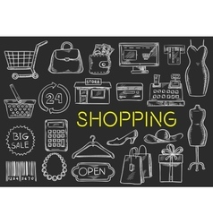 Shopping chalk sketch isolated icons vector