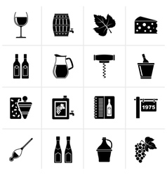 Black wine industry objects icons vector
