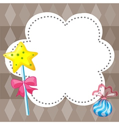 An empty cloud template with candies vector