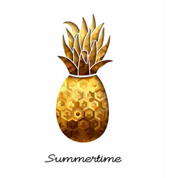 Summer gold pineapple design for vacation season vector