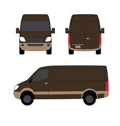 Delivery van brown three sides vector image