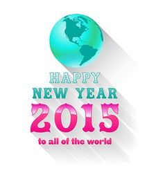 Happy new year 2015 with earth vector
