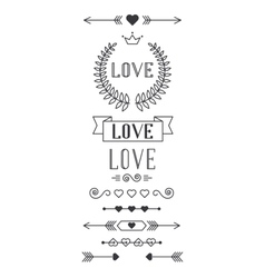 Set of lined design elements for valentine day vector