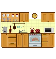 Modern kitchen with furniture vector