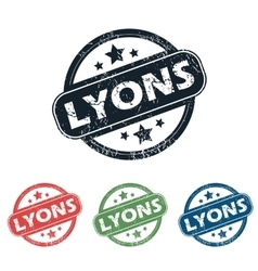Round lyons city stamp set vector