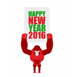 Monkey holds a plate of happy new year 2016 big vector