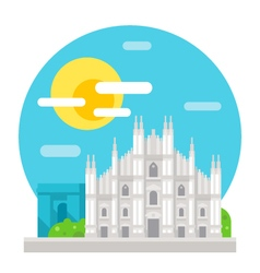 Milan cathedral flat design landmark vector