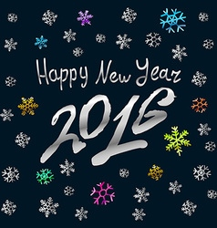 Happy new year 2016 silver card background vector