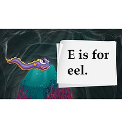 Letter e is for eel vector