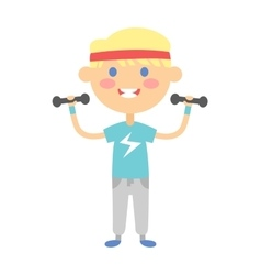 Fitness kid girl vector