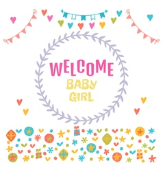 Welcome baby girl baby girl shower card baby vector