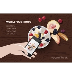 Mobile food photo scene vector
