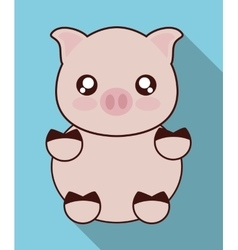 Kawaii pig icon cute animal graphic vector