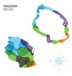 Abstract color map of tanzania vector