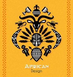 African tribal ethnic art background vector
