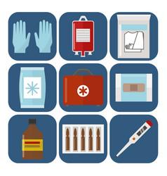 Ambulance icons medicine health emergency hospital vector