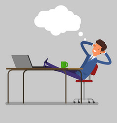 Businessman sitting at the table vector