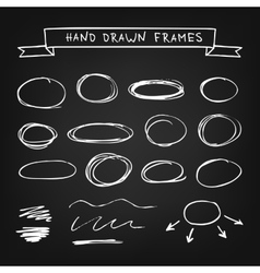 Chalk hand drawn frames vector