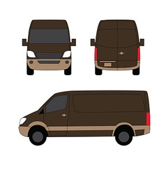 Delivery van brown three sides vector