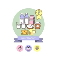 Eco dairy products vector image