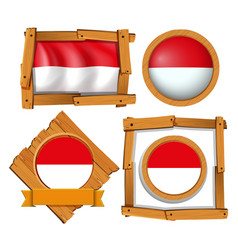 Flag of indonesia in different frames vector