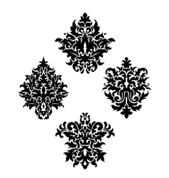 Four different foliate arabesque motifs vector image