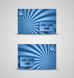 Gift card with blue striped background vector image