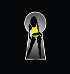 Girl pose front the keyhole vector