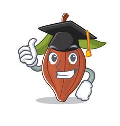 Graduation cacao bean character cartoon vector