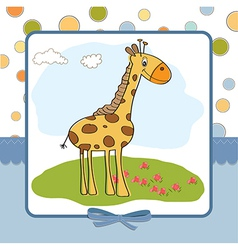 greeting card with giraffe vector image
