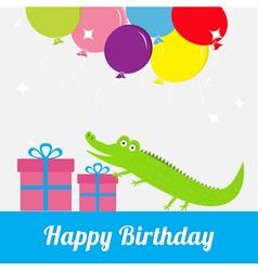 Happy birthday card with cute alligator giftbox vector