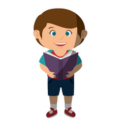 Happy little boy reading character vector