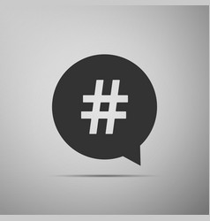 Hashtag in circle icon isolated on grey background vector