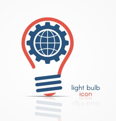 light bulb idea icon with gear and globe vector image vector image