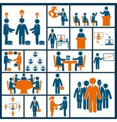 Meeting icons set flat vector