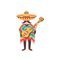 mexcian guy with guitar vector image vector image