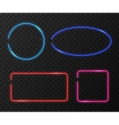 Neon frames set on black transparent vector image vector image