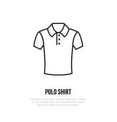 Polo shirt icon clothing shop line logo flat vector