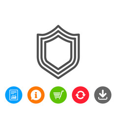 Shield line icon protection or security sign vector