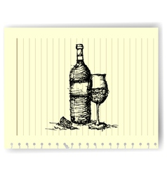 sketch drawing of wine bottle and glass on lined vector image vector image