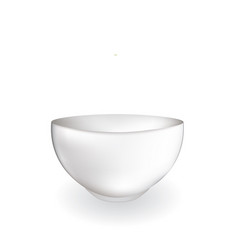 white empty bowl on white background vector image