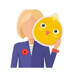 Woman with chicken mask flat design vector