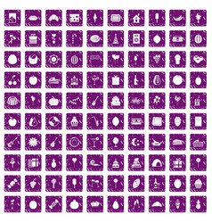 100 fruit party icons set grunge purple vector image vector image