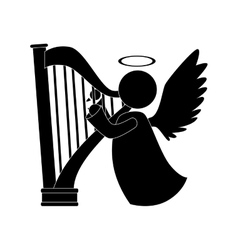 Angel harp play musical instrument icon vector
